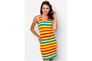 Fourskin Striped Dress Set with Headband and Hairclip