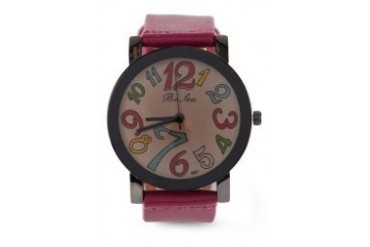 Fourskin Dark Pink Colourful Leather Watch