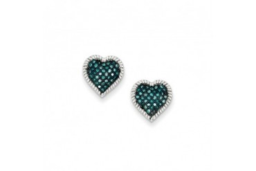1 4 Cttw Blue Diamond 11mm Heart Post Earrings in Sterling Silver