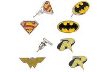 DC Comics Justice League Batman Robin Superman Wonder Woman Logos 4 Pair Earrings Set