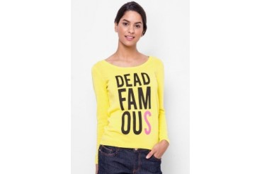 Catwalk88 Dead Famous Printed Scoop Neck Sweater