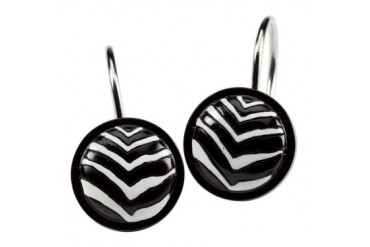 Zebra Pattern Black White Bathroom Shower Curtain Hooks