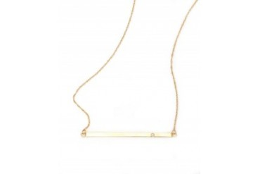 Jennifer Zeuner Horizontal Diamond Bar Necklace Gold