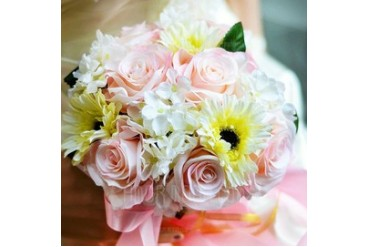 Blooming Round Satin Bridal Bouquets (124032039)