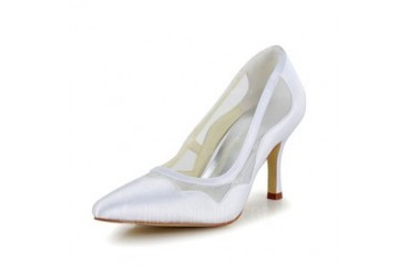 Women's Satin Stiletto Heel Closed Toe Pumps With Hollow-out (047048542)
