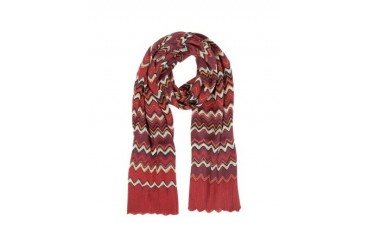 Red Zig Zag Wool Blend Scarf