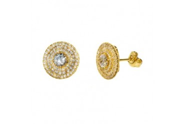 18k Gold Plated Sterling Silver Circle CZ Earrings