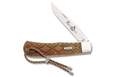 Case Tony Bose Back Pocket Knife with Rattlesnake Skin Laser Engraved Antique Bone Handle