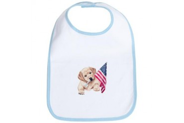 Flag Bearer Yellow Lab puppy Dog Bib by CafePress