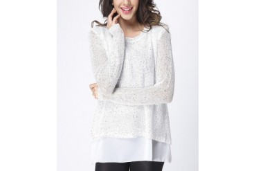 White Knit Layered Bow-Back Tunic