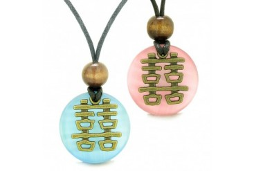 Double Happiness Love Couples Yin Yang Amulets Pink Cats Eye Necklaces