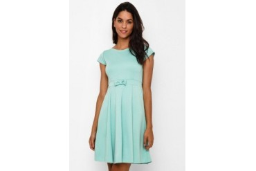 Chic Simple Cap S/ Flare Dress With Bow Detail