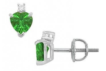 Cubic Zirconia and Created Emerald Stud Earrings 14K White Gold 2.04 CT TGW