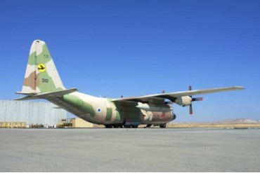Israeli Air Force C-130 Karnaf on the ramp at Nevatim Air Force Base.