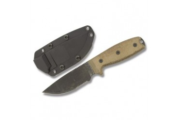 Ontario RAT-3 with Serrated Blade and Green Canvas Micarta Handle (Factory Second)