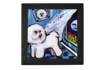 Bichon Frise cs moon Art Keepsake Box by CafePress