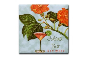 Key West Island Bar Vintage Ad Art Tile Coaster