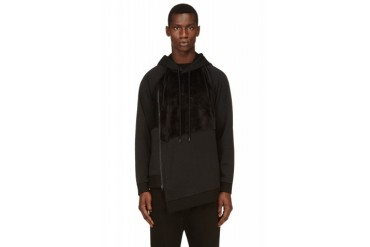 D.gnak By Kang.d Black Plush Oblique Zip Hoodie