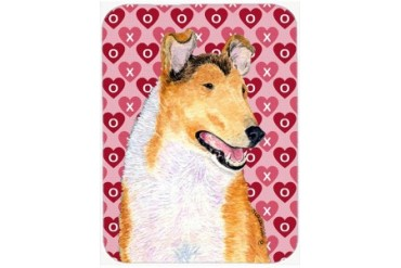 Collie Smooth Hearts Love and Valentine s Day Glass Cutting Board Large