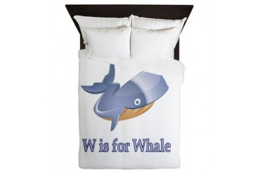 W is for Whale Baby Queen Duvet by CafePress