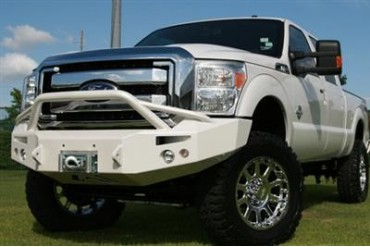 Fab Fours Pre-Runner Heavy Duty Winch Bumper in Bare Steel with Lights and D-ring Mounts FS11-A2652-B Front Bumpers