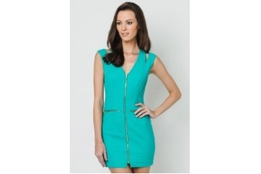 Zip Front Shoulder Cut Out Dress