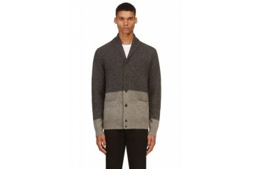 Paul Smith Jeans Grey Colorblocked Wool Cardigan