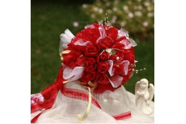 Gorgeous Round Satin Bridal Bouquets (124032065)