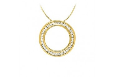 Gift Her Channel Set Diamonds Pendant 14K Yellow Gold