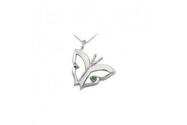 terfly Pendant Necklace with Created Emerald in Sterling Silver 0.15 CT TGW