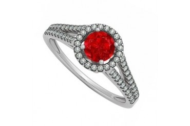 July Birthstone Natural Ruby with Diamonds Halo Split Shank Engagement Ring