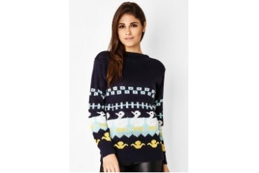 Red Lips Tribal Duck Sweater
