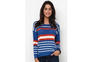Heath Stripe Loose Flatknitt Tee