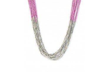 Multi Strand Seed and Silver Bead Necklace Lilac