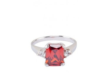Red Cubic Zirconia Pendant Ring