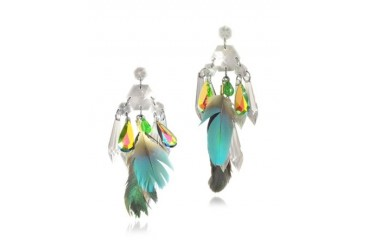 Crystals and Feather Drop Earrings