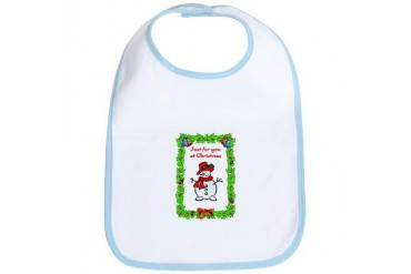 Meet the snowman, just for yuor at Christmas Christmas Bib by CafePress