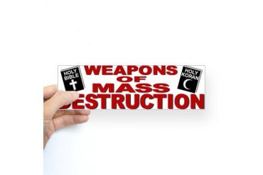 Bible Quran WMD Bumper Sticker Atheist Sticker Bumper by CafePress