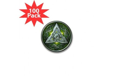 Norse Valknut - Green Celtic Mini Button 100 pack by CafePress