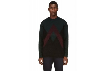 Kenzo Forest Green And Burgundy Twin Peaks Mohair Sweater