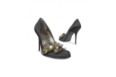 Crystal & Feather Bow Evening Pump