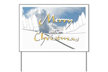 Merry Christmas Snow Scene Trees Yard Sign by CafePress