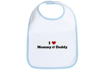 I Love Mommy Daddy Humor Bib by CafePress