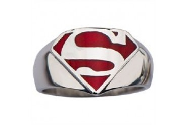 DC Comics Superman Logo Stainless Steel Red Inlay Ring