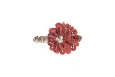 Handstitch Crystal Cutout Flower Clip