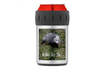 Opossum - Braking For Thermos Can Cooler Humor Thermosreg; Can Cooler by CafePress