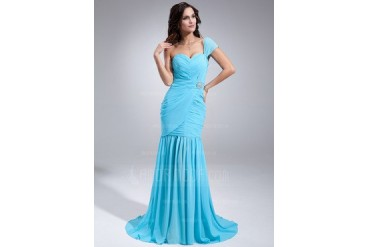 Trumpet/Mermaid One-Shoulder Sweep Train Chiffon Evening Dress With Ruffle Crystal Brooch (017020687)