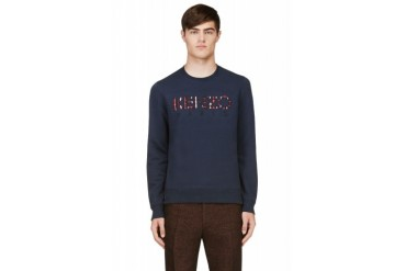 Kenzo Navy Embroidered Graphic Logo Sweatshirt