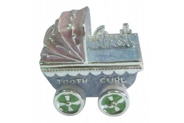 Pewter Pink and Blue Baby Carriage First Tooth and Curl Hinged Trinket Box