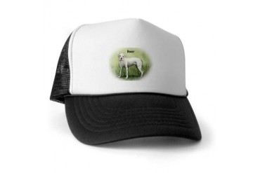 White Boxer Standing Pets Trucker Hat by CafePress